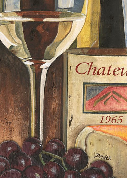 Grapes Greeting Card featuring the painting Chateux 1965 by Debbie DeWitt