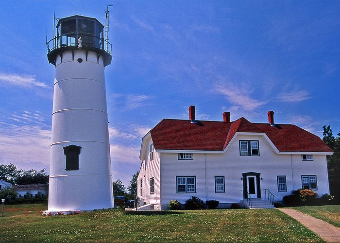 Lighthouses Greeting Card featuring the photograph Chatham Light by Skip Willits