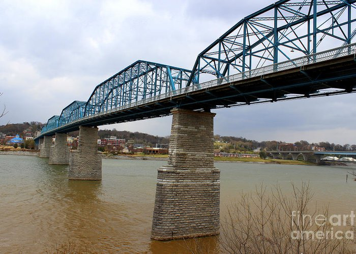 Chattanooga Longest Walking Bridge Greeting Card featuring the photograph Chattanooga Longest Walking Bridge by Kathy White