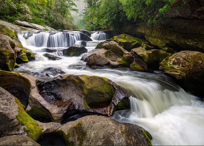 Chattooga River Greeting Card featuring the photograph Chattooga River Potholes Waterfall Highlands Nc - The Artist's Hand by Dave Allen