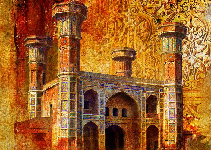 Pakistan Greeting Card featuring the painting Chauburji Gate by Catf