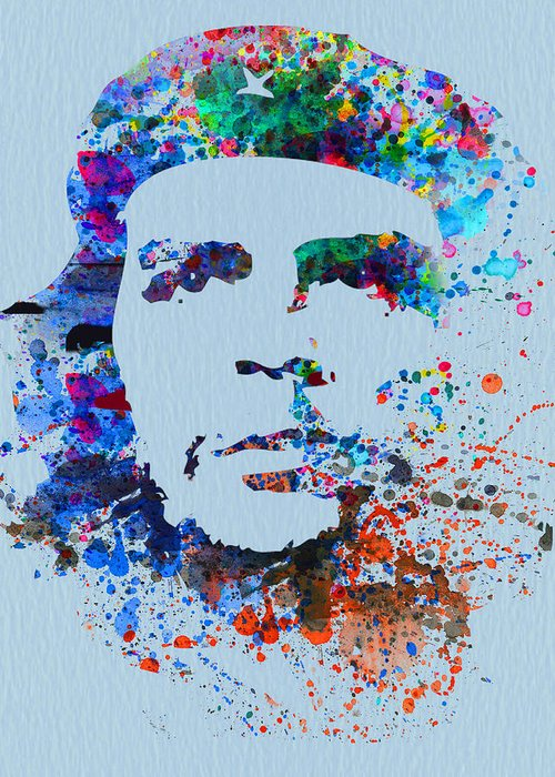 Greeting Card featuring the painting Che Guevara Watercolor by Naxart Studio