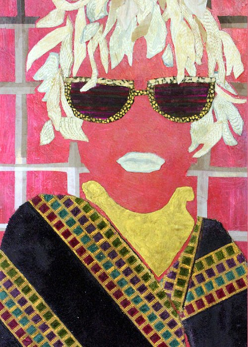 Mixed Media Portrait Greeting Card featuring the mixed media Cheap Sunglasses by Diane Fine