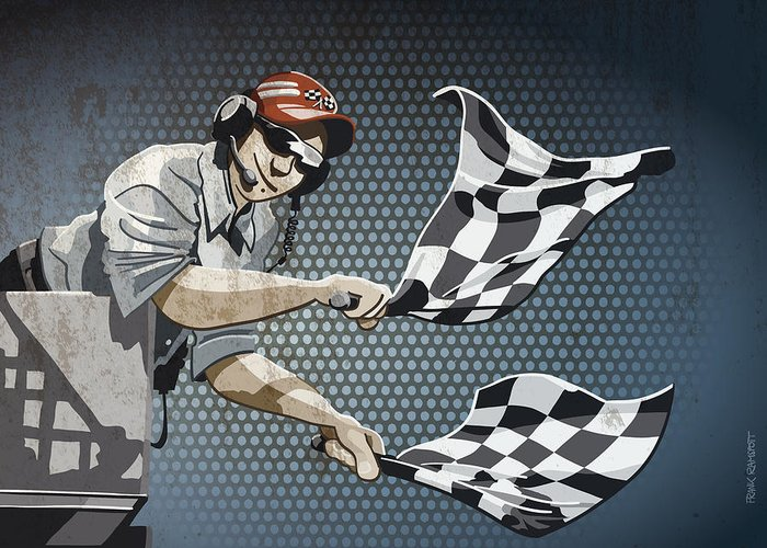 Racing Greeting Card featuring the digital art Checkered Flag Grunge Color by Frank Ramspott