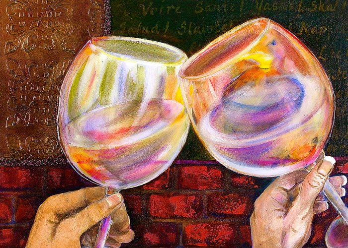 Wine Greeting Card featuring the painting Cheers by Debi Starr