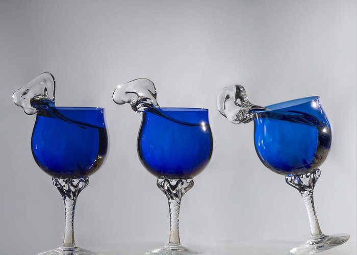 Blue Wine Glasses Greeting Card featuring the photograph Cheers by Paul Geilfuss