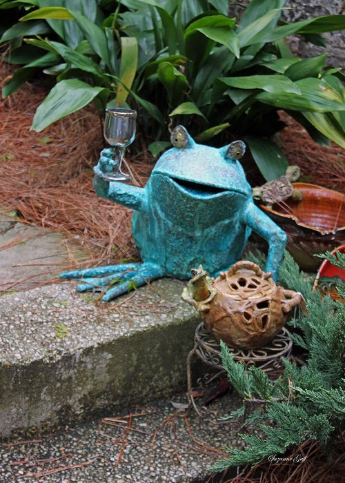 Frog Greeting Card featuring the photograph Cheers by Suzanne Gaff