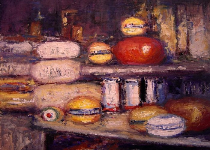 Cheese Greeting Card featuring the painting Cheese Shop Window by R W Goetting