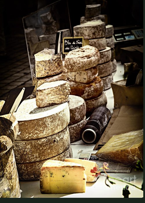 Cheese Greeting Card featuring the photograph Cheeses On The Market In France by Elena Elisseeva
