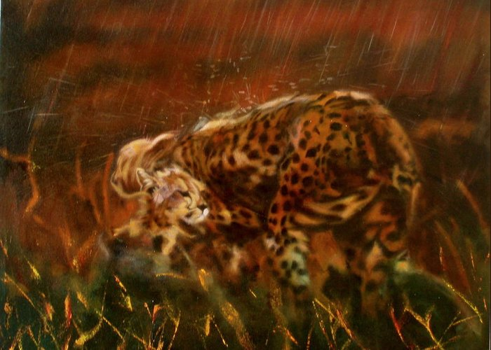 Rain;water;cats;africa;wildlife;animals;mother;shelter;brush;bush Greeting Card featuring the painting Cheetah Family After The Rains by Sean Connolly