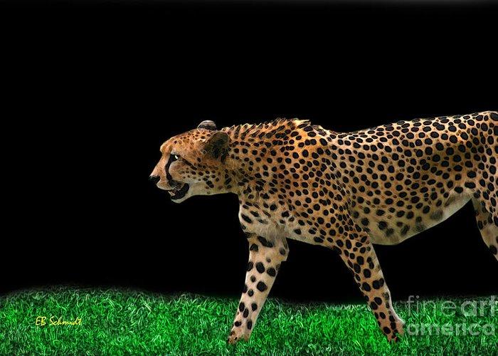Cheetah Greeting Card featuring the digital art Cheetah On The Prowl by E B Schmidt