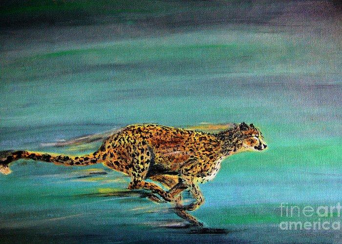 Cheetah Greeting Card featuring the painting Cheetah Run by Nick Gustafson