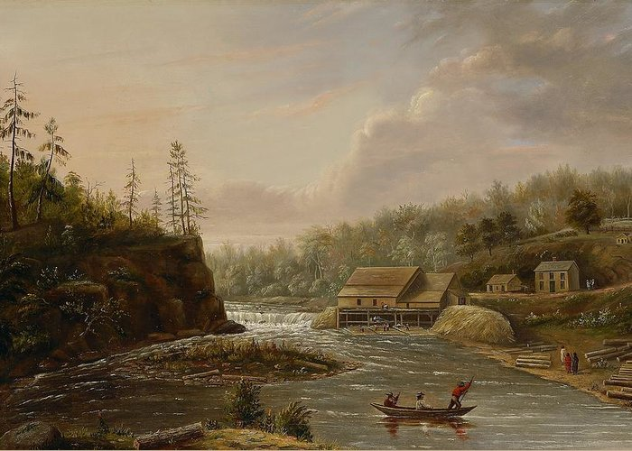 Cheever's Mill; St. Croix River; Landscape; Minnesota; Mill; Building; Industry; Industrial; Industrialisation; Boat; Figures; Houses; Buildings; Exterior; Flowing; Water; Trees; Woodland; Logging; Timber; America; American; Usa; Settlers; Settlement; Hudson River School; Wood Greeting Card featuring the painting Cheevers Mill On The St. Croix River by Henry Lewis