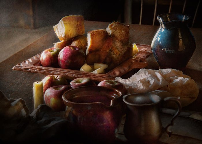 Chef Greeting Card featuring the photograph Chef - Food - A Tribute To Rembrandt - Apples And Rolls by Mike Savad