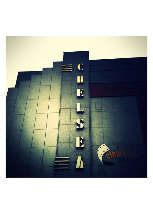 Chelsea Cinemas Greeting Card featuring the photograph Chelsea Art Deco Blue by Natasha Marco