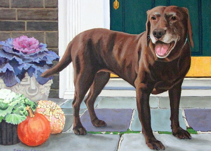 Dog At Door Paintings Greeting Cards