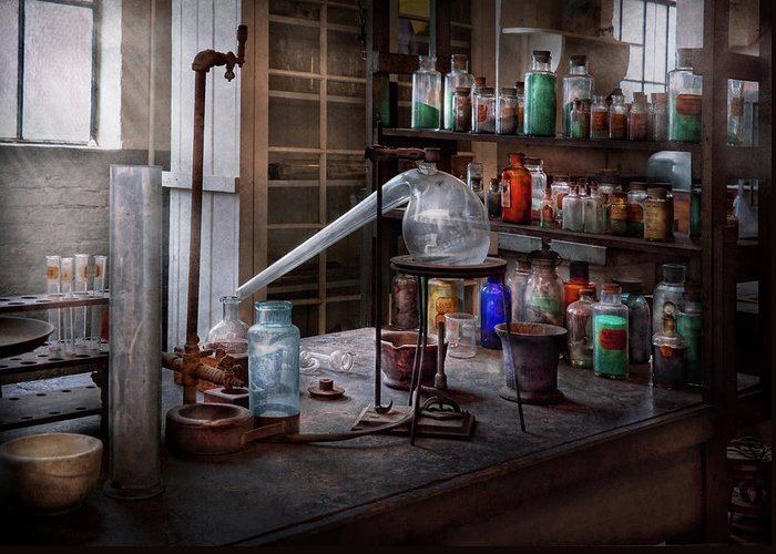 Hdr Greeting Card featuring the photograph Chemist - My Retort Is Better Than Yours by Mike Savad