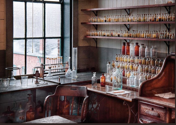 Hdr Greeting Card featuring the photograph Chemist - Perfume Science by Mike Savad