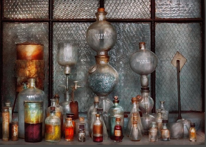 Suburbanscenes Greeting Card featuring the photograph Chemist - The Apparatus by Mike Savad