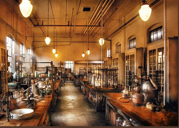 Savad Greeting Card featuring the photograph Chemist - The Chem Lab by Mike Savad
