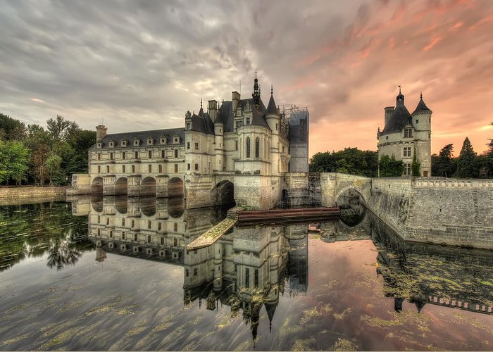 Architecture Greeting Card featuring the photograph Chenonceau Castle by Ioan Panaite