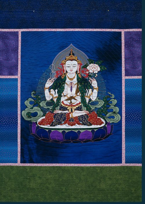 Buddha Greeting Card featuring the tapestry - textile Chenrezig by Leslie Rinchen-Wongmo