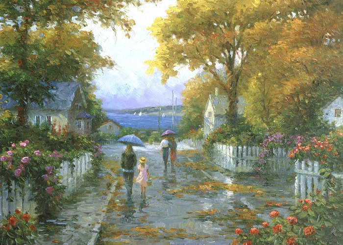Woman Greeting Card featuring the painting Cherished Fondness by Ghambaro