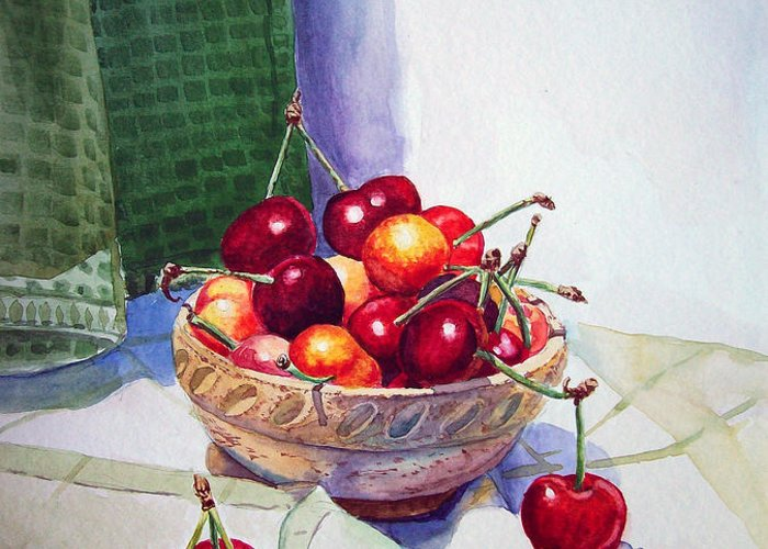 Berry Greeting Card featuring the painting Cherries by Irina Sztukowski