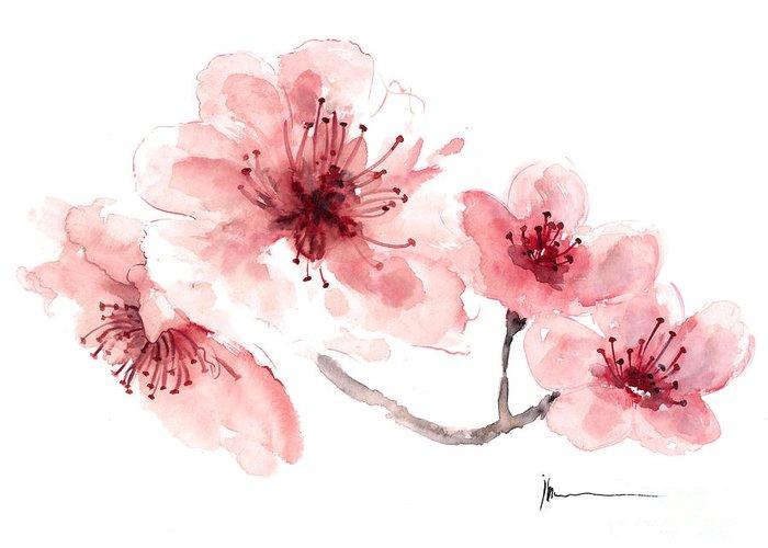 Cherry blossom fragrance watercolor art print painting greeting card sakura greeting card featuring the painting cherry blossom fragrance watercolor art print painting by joanna szmerdt m4hsunfo