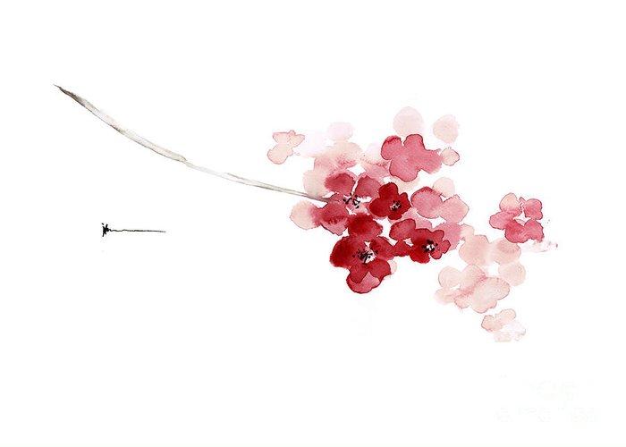 Cherry Blossom Watercolor Art Print Decor Japanese Sakura Home Greeting Card For Sale By Joanna Szmerdt