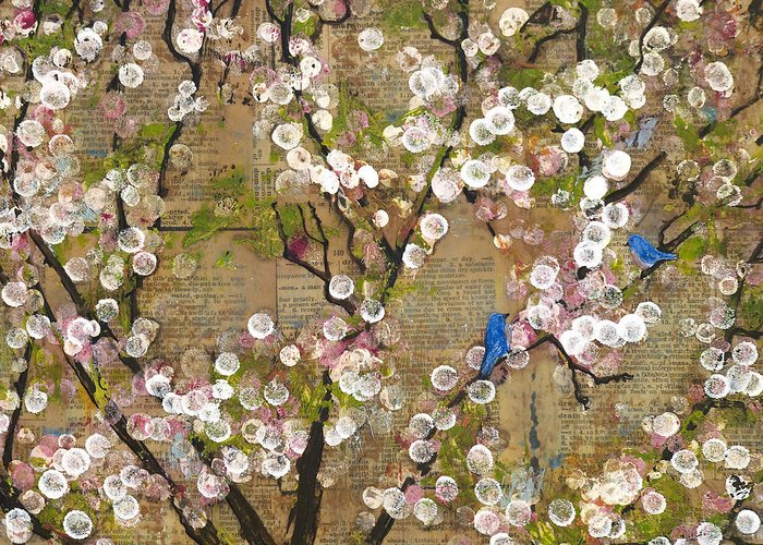 Mixed Media Greeting Card featuring the painting Cherry Blossoms And Blue Birds by Blenda Studio