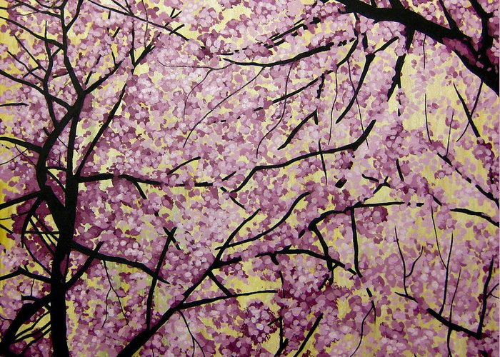 Cherry Blossoms Greeting Card featuring the painting Cherry Blossoms by Bobby Zeik