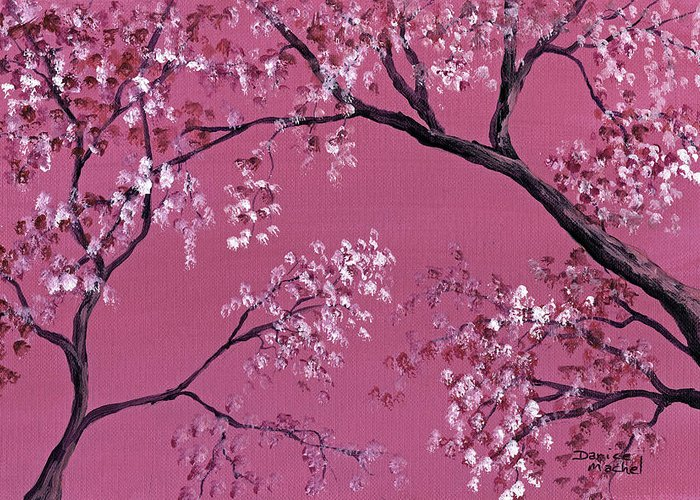 Landscape Greeting Card featuring the painting Cherry Blossoms by Darice Machel McGuire
