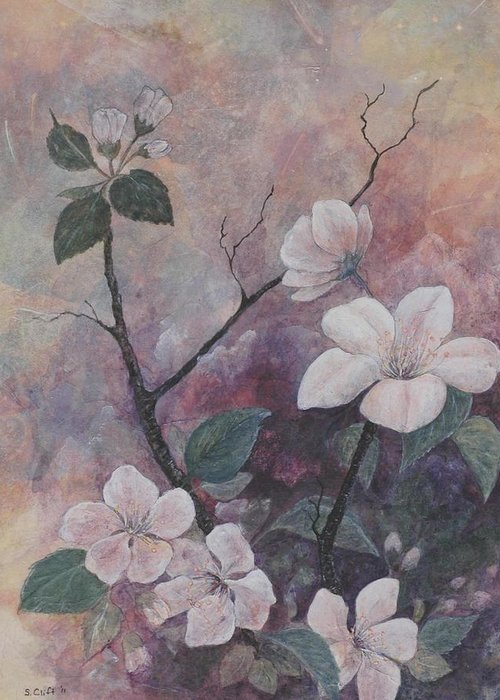 Flowers Greeting Card featuring the painting Cherry Blossoms In The Cosmos by Sandy Clift