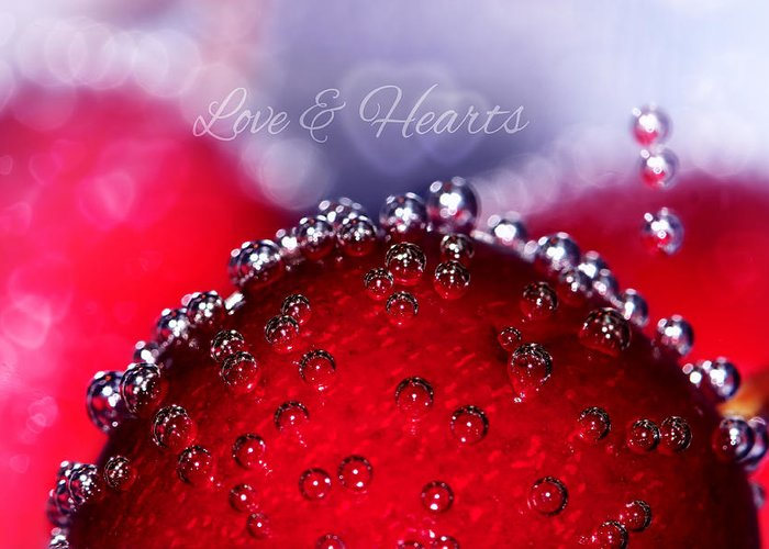 Cherry Greeting Card featuring the photograph Cherry Fizz Hearts With Love by Tracie Kaska