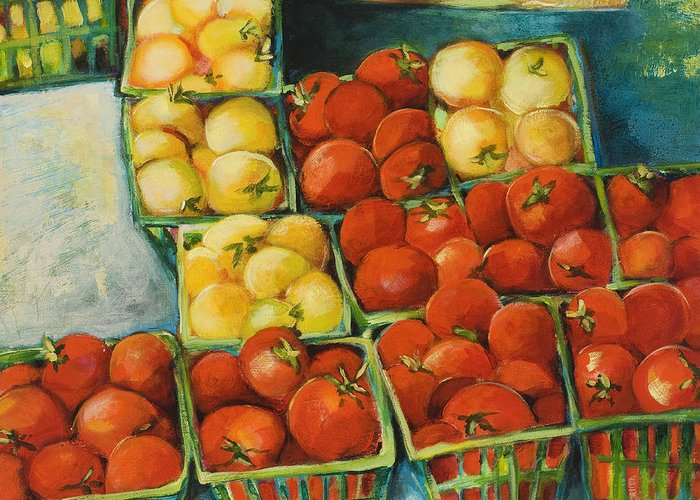 Cherry Tomatoes Greeting Card featuring the painting Cherry Tomatoes by Jen Norton