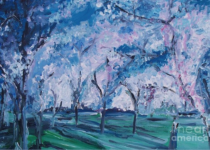 Cherry Trees Greeting Card featuring the painting Cherry Trees Impressionism by Eric Schiabor