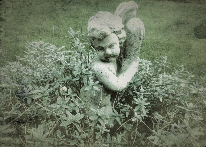 Cherub Greeting Card featuring the photograph Cherub Statue In The Garden by John Colley