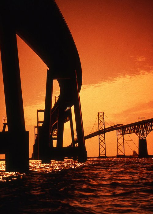 Bay Greeting Card featuring the photograph Chesapeake Bay Bridge by Skip Willits