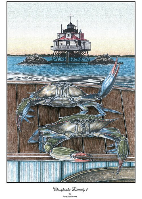 Thomas Point Lighthouse Greeting Card featuring the drawing Chesapeake Bounty 1 by Jonathan W Brown