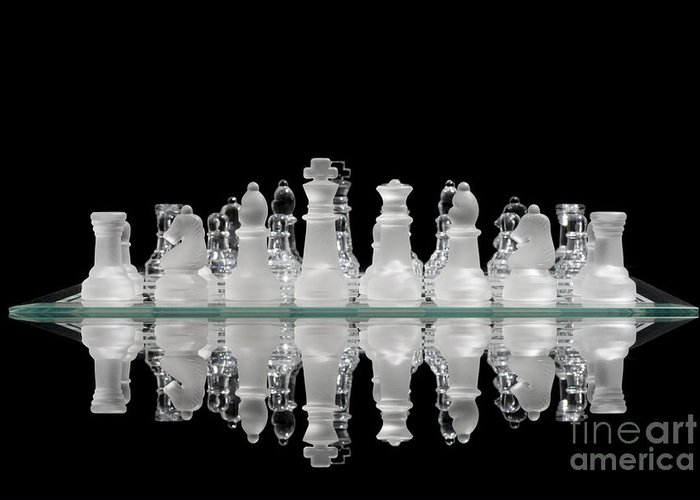 Abattle Greeting Card featuring the photograph Chess Game Reflection by Gord Horne