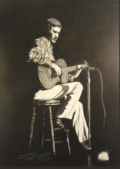 Chet Adkins Greeting Card featuring the drawing Chet Adkins 1975 by Charles Rogers