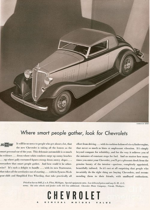 Adverts Greeting Card featuring the drawing Chevrolet 1933 1930s Usa Cc Cars by The Advertising Archives
