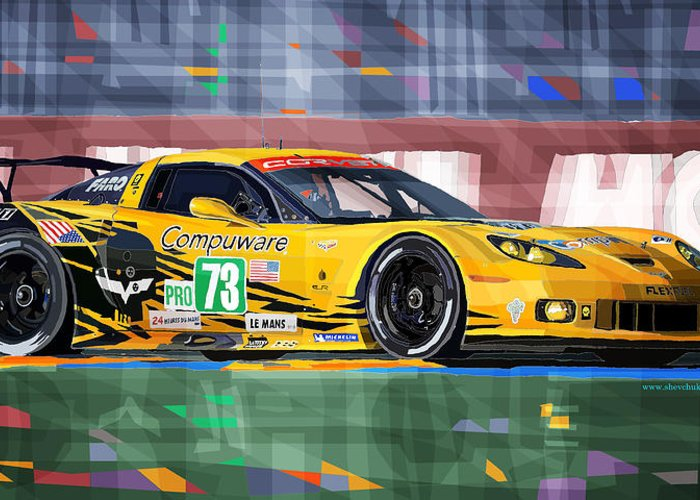 Automotive Greeting Card featuring the digital art Chevrolet Corvette C6r Gte Pro Le Mans 24 2012 by Yuriy Shevchuk