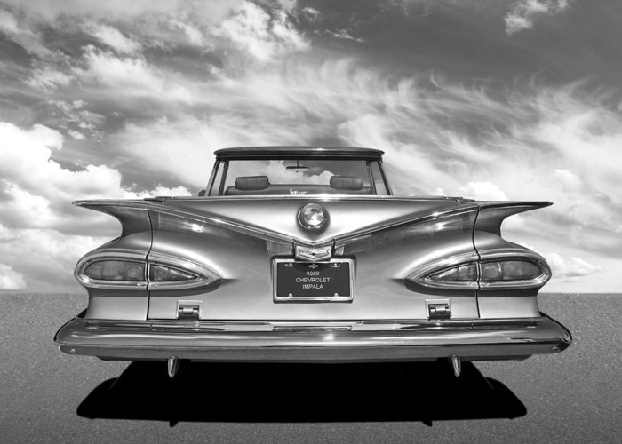 Chevrolet Impala Greeting Card featuring the photograph Chevrolet Impala 1959 in Black and White by Gill Billington