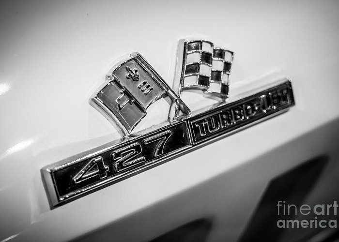 1960's Greeting Card featuring the photograph Chevy Corvette 427 Turbo-jet Emblem by Paul Velgos