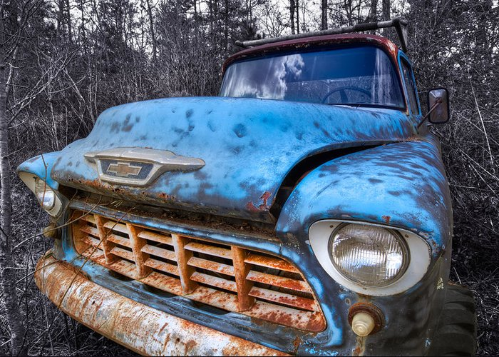 Appalachia Greeting Card featuring the photograph Chevy In The Woods by Debra and Dave Vanderlaan