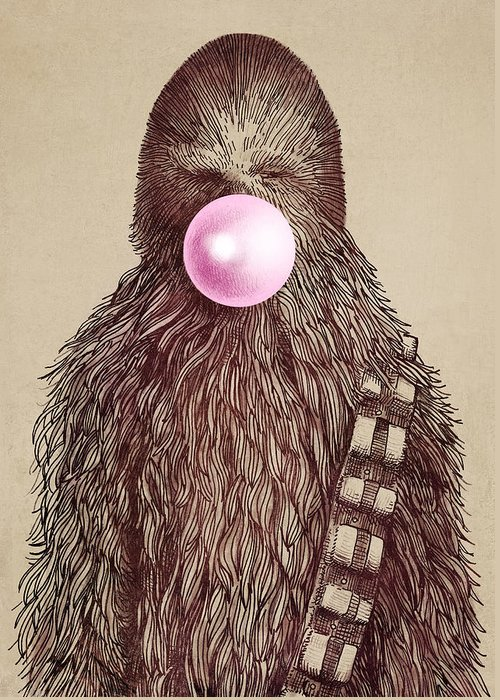 Bubblegum Greeting Card featuring the drawing Big Chew by Eric Fan