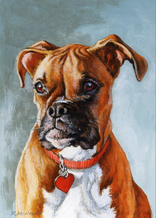 Boxer Greeting Card featuring the painting Cheyenne by Richard De Wolfe