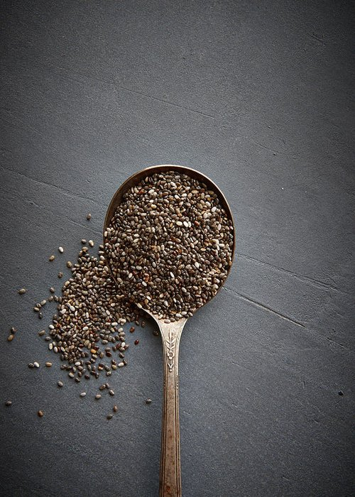 Spoon Greeting Card featuring the photograph Chia Seeds by Lew Robertson